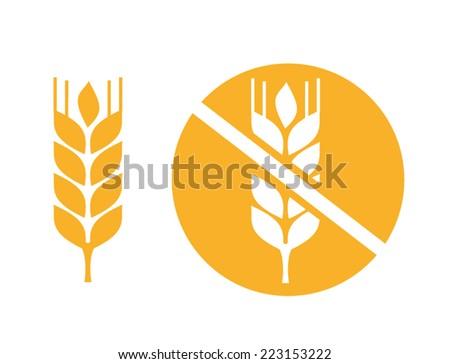 wheat yellow gluten free grain vector icon