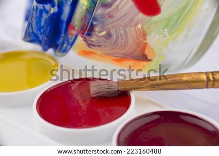 Color brush palette,paintbrush and color jar #223160488