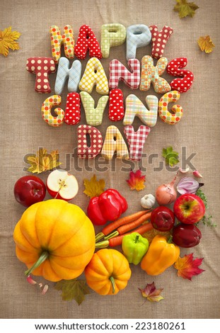 Autumn Thanksgiving Day composition with handmade text, fruits and vegetables on canvas background. Unusual thanksgiving day illustration. Top view #223180261