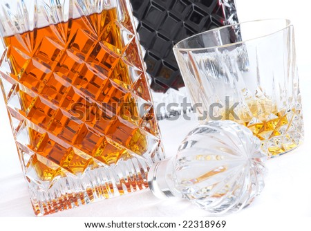 whiskey (or brandy) and port in old crystal decanters #22318969