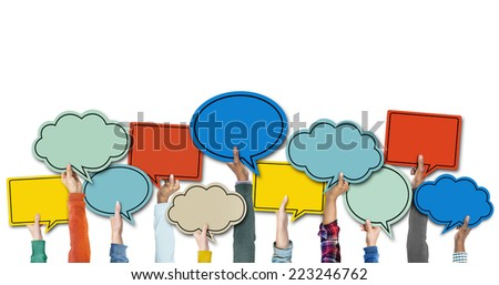 Diverse Hands Holding Colorful Speech Bubbles Royalty-Free Stock Photo #223246762
