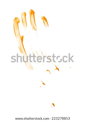 Smeared with the fingers oil paint stains isolated over the white background #223278853