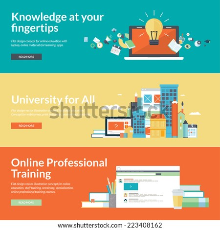 Flat design concepts for online education,online training courses, staff training, retraining, specialization, university, tutorials. Concepts for web banners and promotional materials.