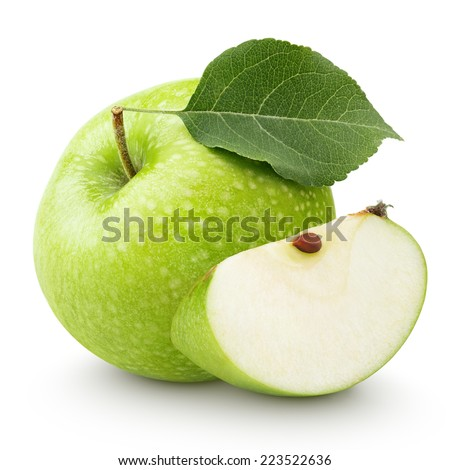 Ripe green apple with leaf and slice isolated on a white background with clipping path Royalty-Free Stock Photo #223522636