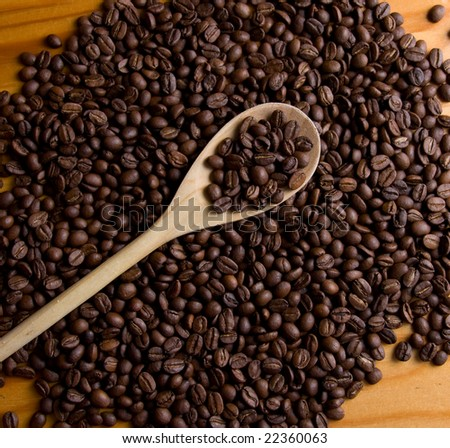 coffe beans and wooden trowel #22360063