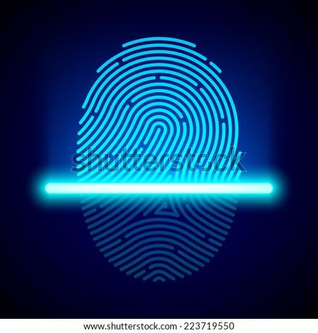 Fingerprint scanner, identification system. Vector. #223719550
