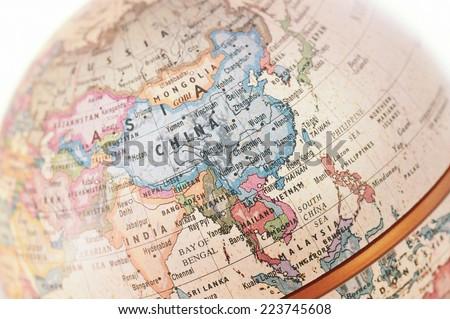 Globe Asia close-up Royalty-Free Stock Photo #223745608