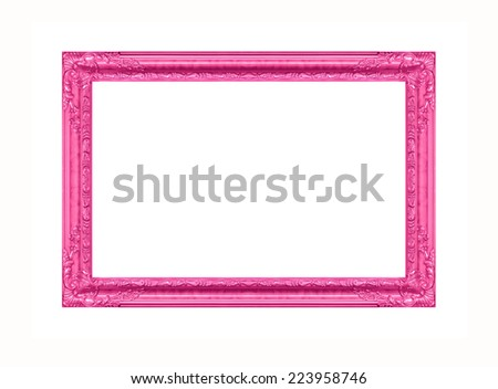 Antique pink frame isolated on white background