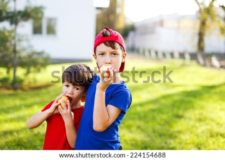 Little brothers in eating apple, outdoor portrait, healthy lifestyle #224154688