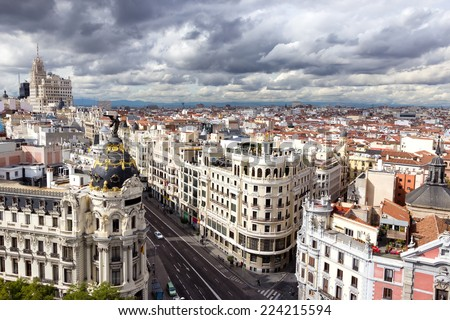 Panoramic aerial view of the main shopping street in Madrid, Spain. #224215594