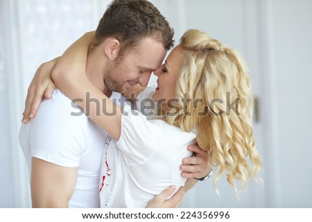 couple standing embracing  #224356996