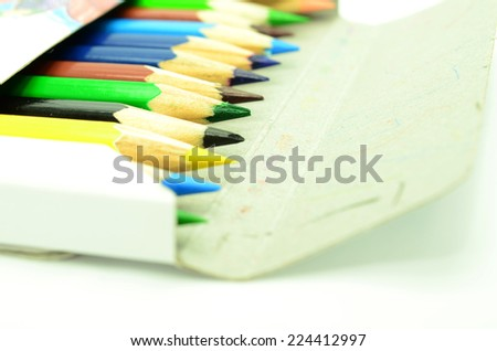 Colour pencils isolated on white background #224412997