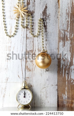 Christmas decorations with clock and bauble #224413750