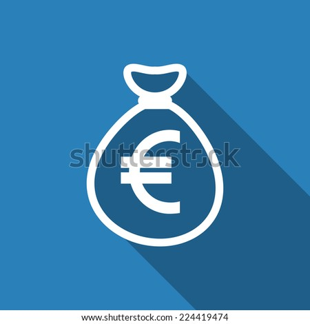 money bag euro icon with long shadow #224419474