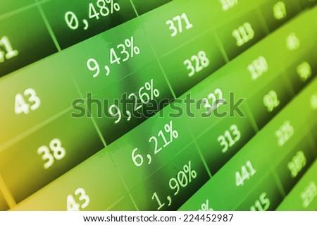 Computer ticker monitor. Modern virtual technology. Business stock exchange. Data analyzing.  Real time stock exchange. Green stock market.