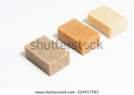 soap blocks on white wooden table, not isolated #224457985