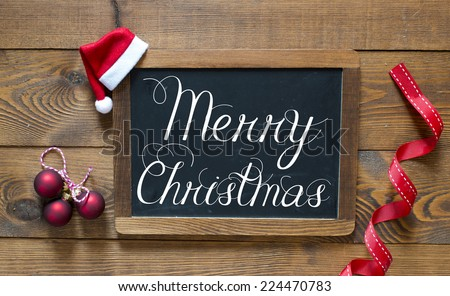 Merry Christmas inscription on chalk blackboard #224470783