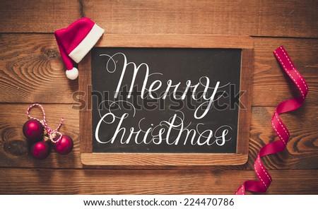 Merry Christmas inscription on chalk blackboard #224470786