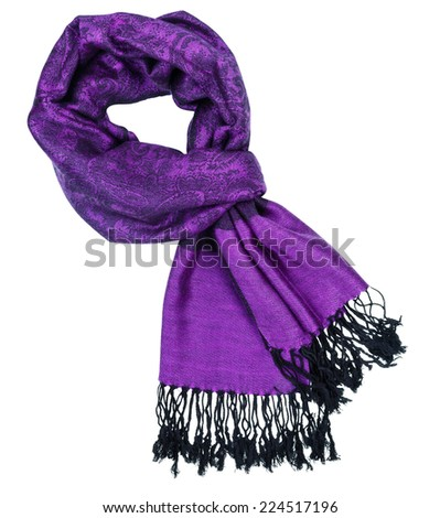 Traditional paisley pattern warm purple cashmere pashmina isolated on white #224517196