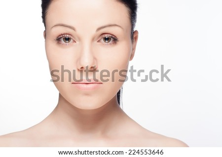 Close-up portrait of a beautiful young woman. Skin care concept.  #224553646