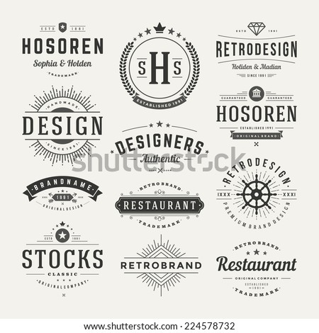 Retro Vintage Insignias or Logotypes set. Vector design elements, business signs, logos, identity, labels, badges and objects.