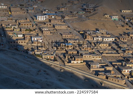View of Leh city, the capital of Ladakh, Northern India.an altitude of 3500 meters. #224597584