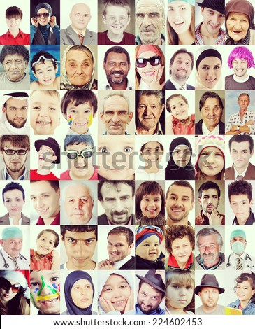 People faces collage of closeup portraits