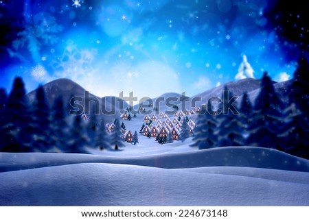 Cute christmas village against snowy landscape with fir trees #224673148