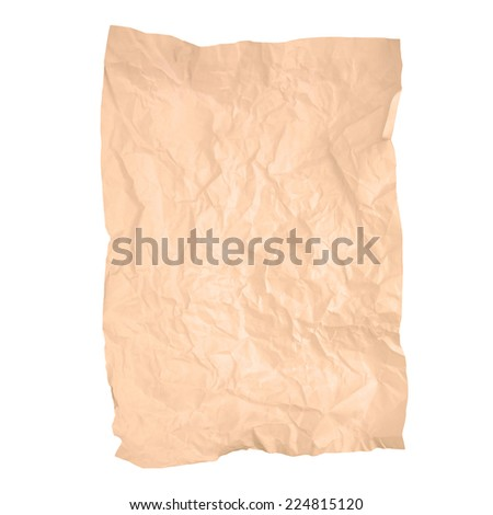 Old wrinkled brown paper texture isolated on white background (brown paper sheet) #224815120