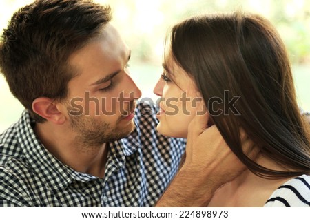 Embrace a loving couple outdoors  #224898973