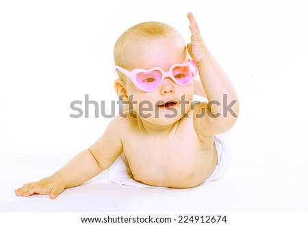 Portrait little baby in pink glasses  #224912674