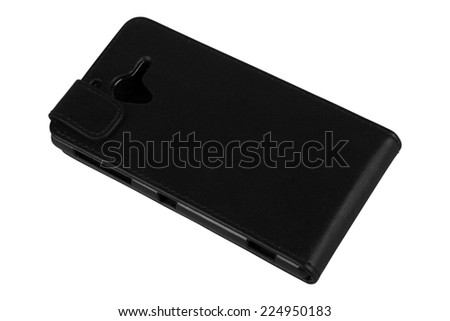 Black leather protective cover for smart phone #224950183