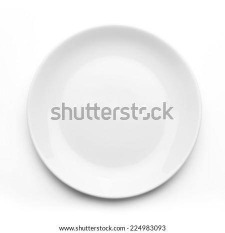 White plate on white background  Royalty-Free Stock Photo #224983093