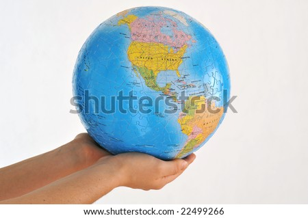 a woman hold the earth on her arm #22499266