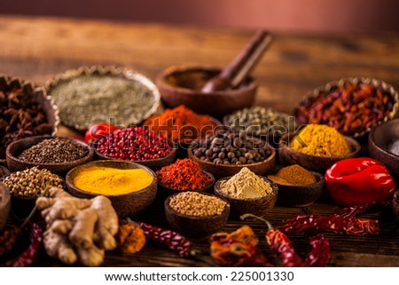Wooden table of colorful spices #225001330