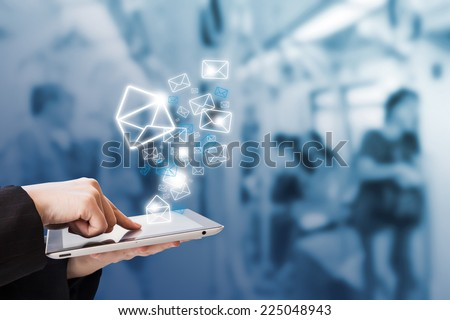 Businesswoman are sending email by using digital tablet #225048943