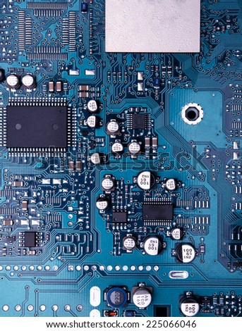 blue circuit board background of computer motherboard #225066046