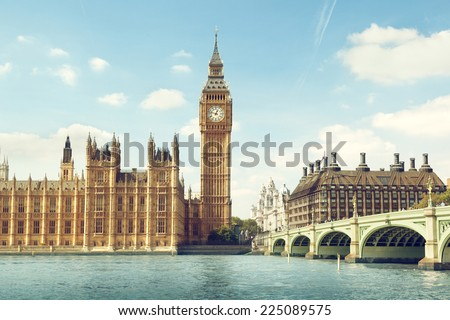 Big Ben in sunny day, London Royalty-Free Stock Photo #225089575