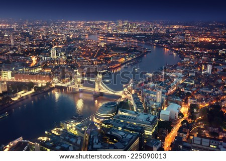 London at night with urban architectures and Tower Bridge #225090013