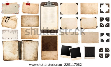 vintage paper sheets, book, old photo frames and corners, antique clipboard isolated on white background.  Royalty-Free Stock Photo #225117082