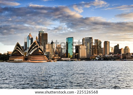 Australia sydney CBD panoramic view from Kirribilli before sunset cloudy sky and bright cityscape line