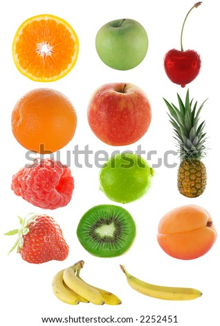 lots of colorful fruit isolated on white and clipping path included #2252451