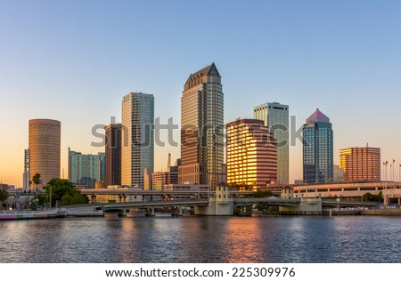 Beautiful downtown Tampa, FL twilight