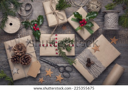 Christmas vintage presents on a wooden background #225355675