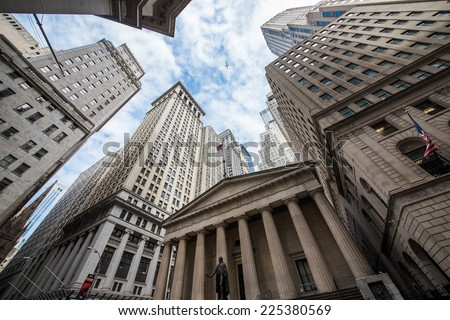 Highrise buildings in Wall Street financial district, New York City Royalty-Free Stock Photo #225380569