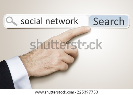 An image of a man who is searching the web after social network #225397753