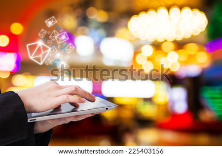Businesswoman checking email at lobby #225403156