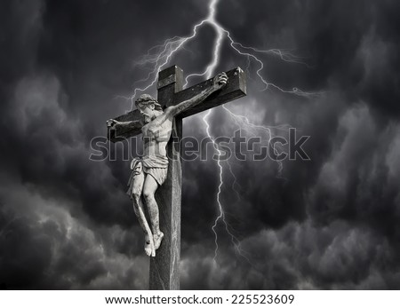 Photo-composition of Jesus Christ dying on the cross.