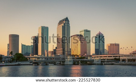 Sunset in downtown Tampa, Florida