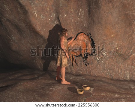 Caveman painting in a cave #225556300